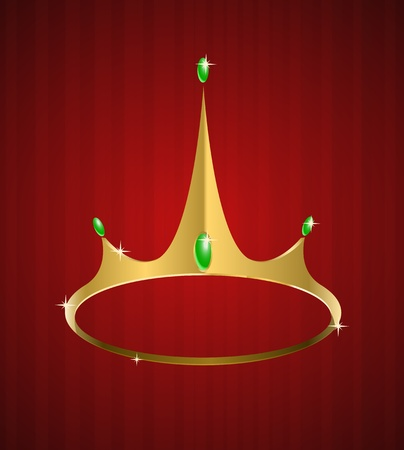 Vector golden crown with diamonds on red background  Vector