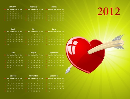 Vector American calendar with glossy heart for Valentines Day, starting from Sundays Vector