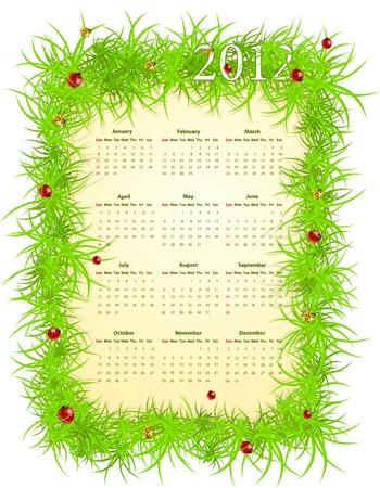 illustration of spring American 2012 calendar, starting from Sundays Stock Vector - 12680379