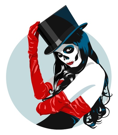 Sugar Skull girl in top hat and red dress  Vector