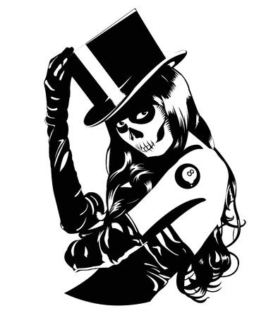 bruja sexy: Ilustración del vector de la muchacha del cráneo del azúcar con el tatuaje, un color, fácil de imprimir