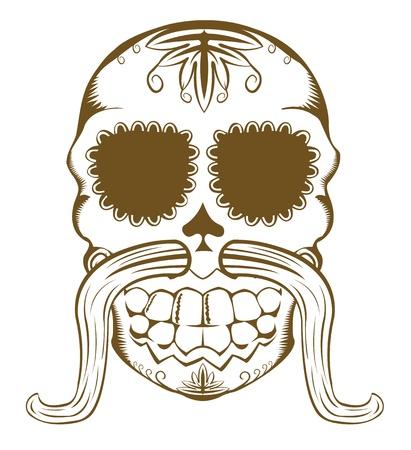 bigote: Ilustraci�n vectorial de calavera de az�car decorativa con bigotes, de un color