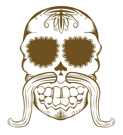 mexican folklore: Vector illustration of decorative sugar skull with mustaches, one color