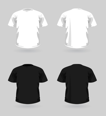 t shirt: Vector set of white and black t-shirts