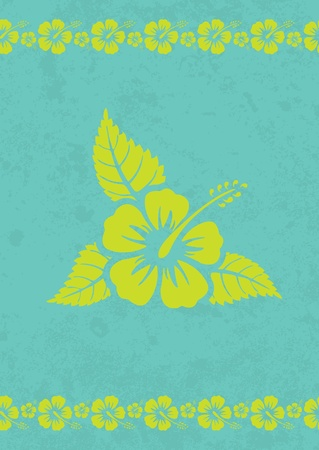 Vector grungy aloha background with hibiscus flower  Vector