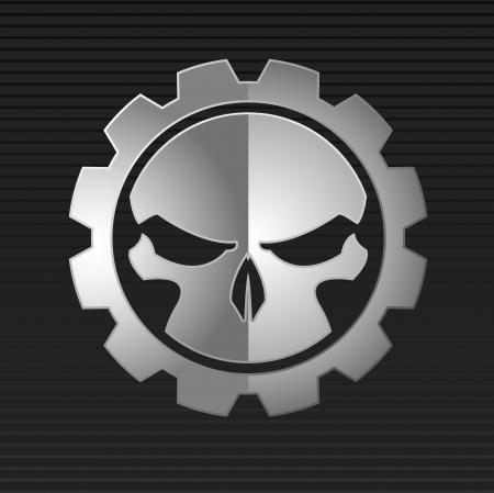 skull: illustration du cr�ne en m�tal mal sur le fond gris Illustration