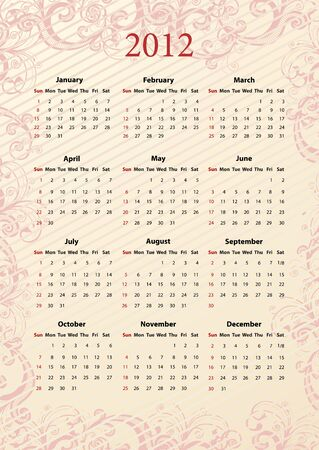 American pink floral calendar 2012, starting from Sundays Stock Vector - 15312728
