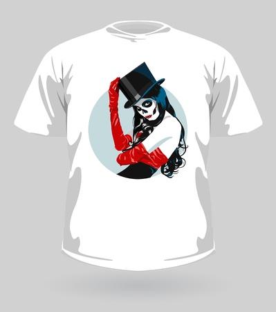 trendy girl: illustration of t-shirt with Sugar Skull girl for Halloween  Illustration