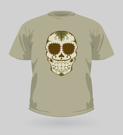 mexican folklore: illustration of t-shirt with decorative brown Sugar Skull for Halloween