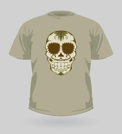 eye sockets: illustration of t-shirt with decorative brown Sugar Skull for Halloween