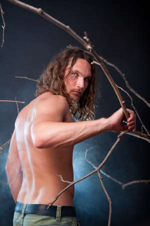 Long haired nude man with scary eyes, Halloween theme  Stock Photo - 15719503