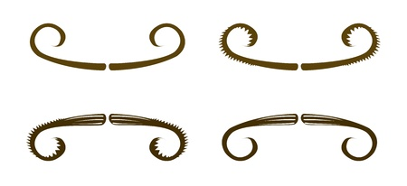 set of simple vintage style mustaches, Halloween decoration Stock Vector - 15828504