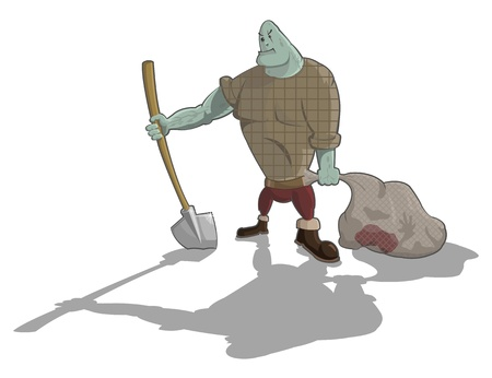 maniac: gravedigger with shovel and sack with corpse, Halloween artwork