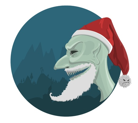 evil Santa Claus in red hat with horror background  Vector
