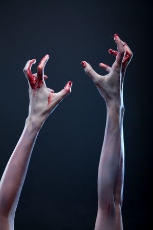 Bloody zombie hands, Halloween theme  photo