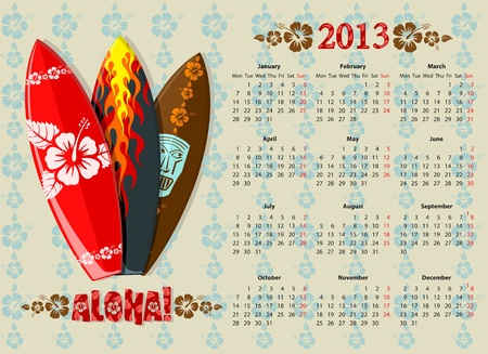 European Aloha vector calendar 2013 with surf boards, starting from Mondays Vector