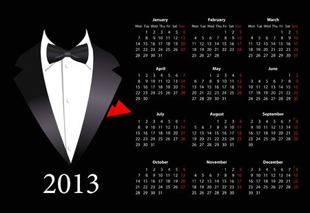 mondays: Vector European calendar 2013 with elegant suit, starting from Mondays  Illustration