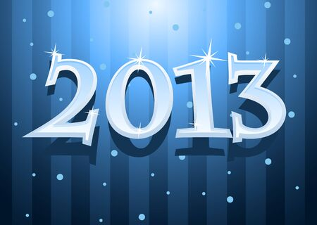 illustration of New Year 2013 text with snowflakes  Vector