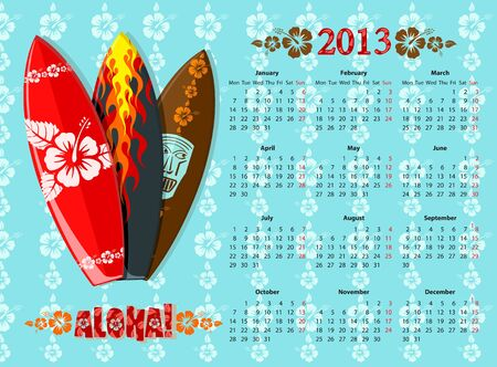 European blue Aloha calendar 2013 with surf boards, starting from Mondays Vector