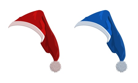 illustration of red and blue New Year holiday hats  Vector