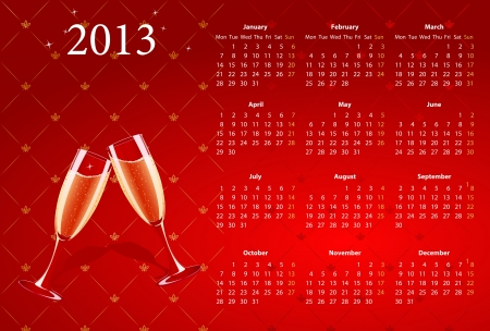 European red calendar 2013 with champagne, starting from Mondays  Vector