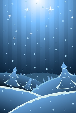 illustration of New Year card with trees and snow, copy-space for your text  Vector
