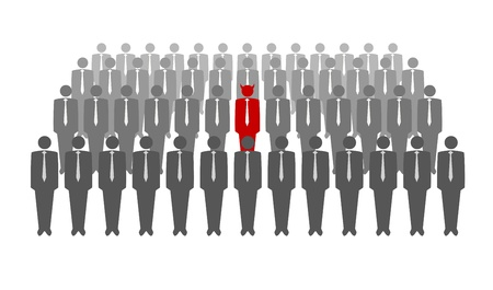 large crowd of people: illustration of red devil in crowd of businessmen