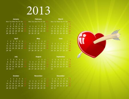 European 2013 calendar with glossy heart for Valentines Day  Vector