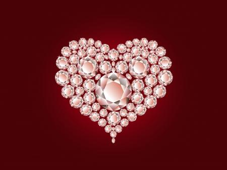 coeur diamant: Coeur diamant Vecteur de luxe sur fond rouge