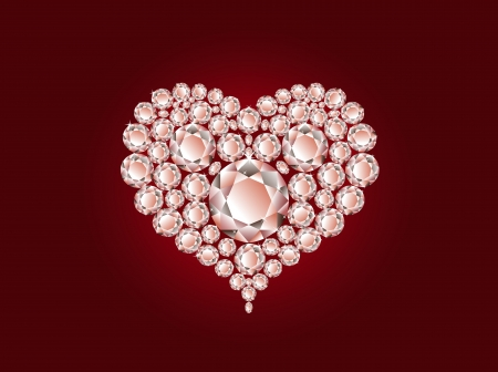 Vector luxury diamond heart on red background