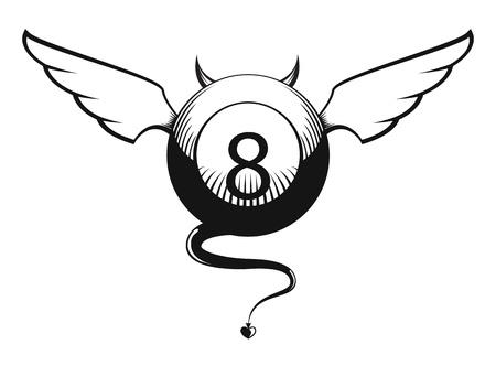 Vector illustration de diable avec des cornes eight ball, les ailes et la queue