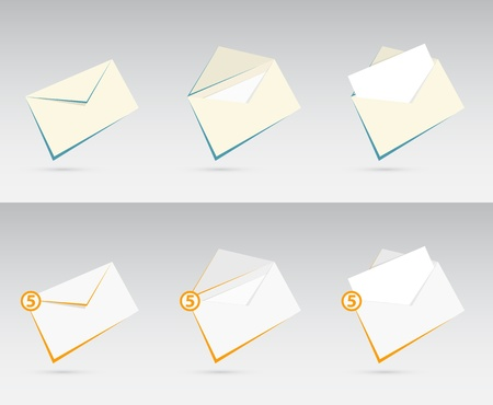 inbox: Vector set of orange and blue envelopes with letters  Illustration