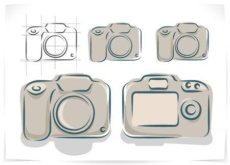 hi back: Vector scheme of different photo cameras