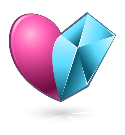 illustration of pink and blue abstract heart for Valentines Day Stock Vector - 17285113