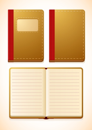notebook with lines, closed and opened versions  Vector