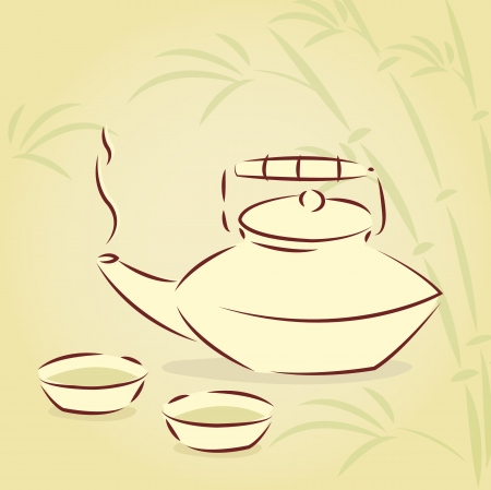 teapot and two cups over bamboo background  Vector