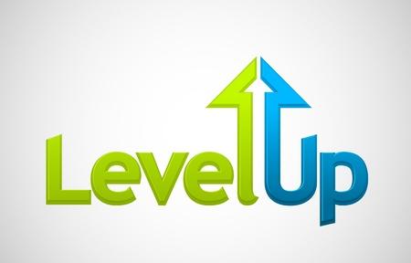 levels: Vector level up bericht, groei symbool