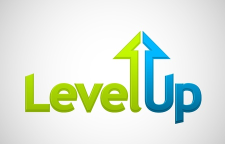increases: Vector level up message, growth symbol
