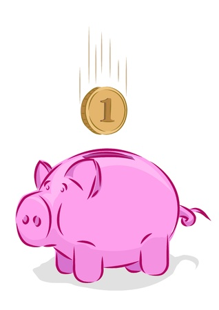 thrift: Vector piggy bank, saving concept