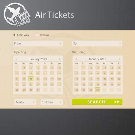 Vector template web interface of air tickets sale website  Vector