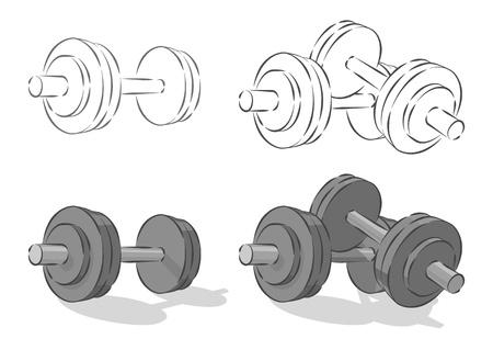 powerlifting:  simple dumbbells, isolated on white background  Illustration