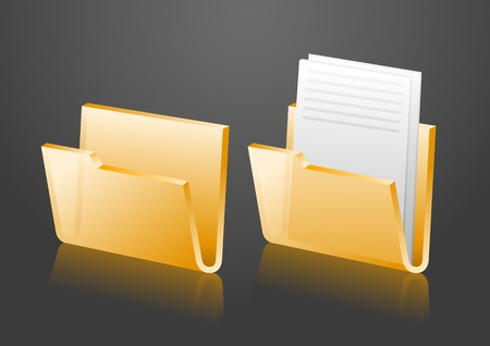 folder icons, empty and with document Vector