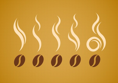 black smoke: coffee beans with steam on abstract canvas background