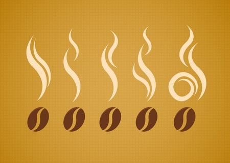 drinking coffee: granos de caf� con vapor en fondo del lienzo abstracto