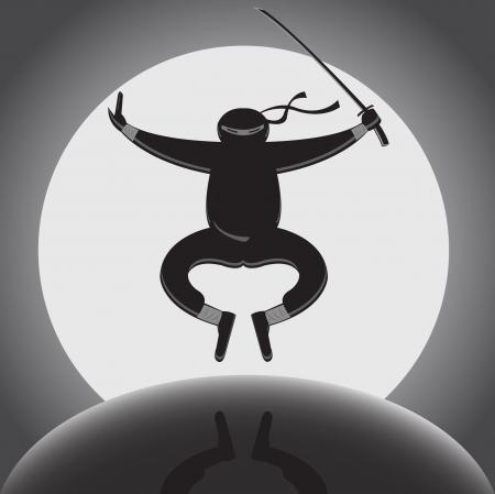 pelea: ninja con katana saltando sobre fondo de luna llena Vectores
