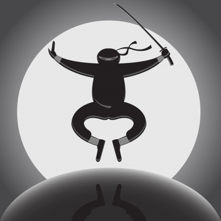 levitation:  ninja with katana jumping over full moon background