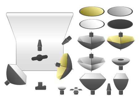 set of studio equipment, flashlights and umbrellas  Vector