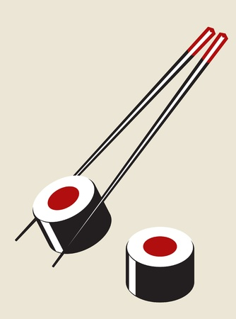 sushi roll: simple sushi illustration in plain colors