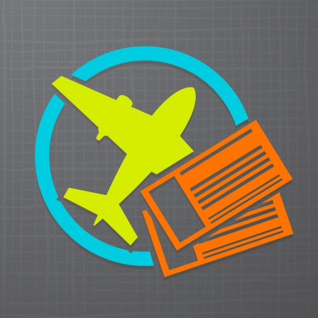 modern icon with airplane and air tickets  Illustration