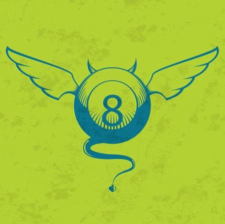 bola ocho: Ilustración del diablo bola ocho con cuernos, alas y cola